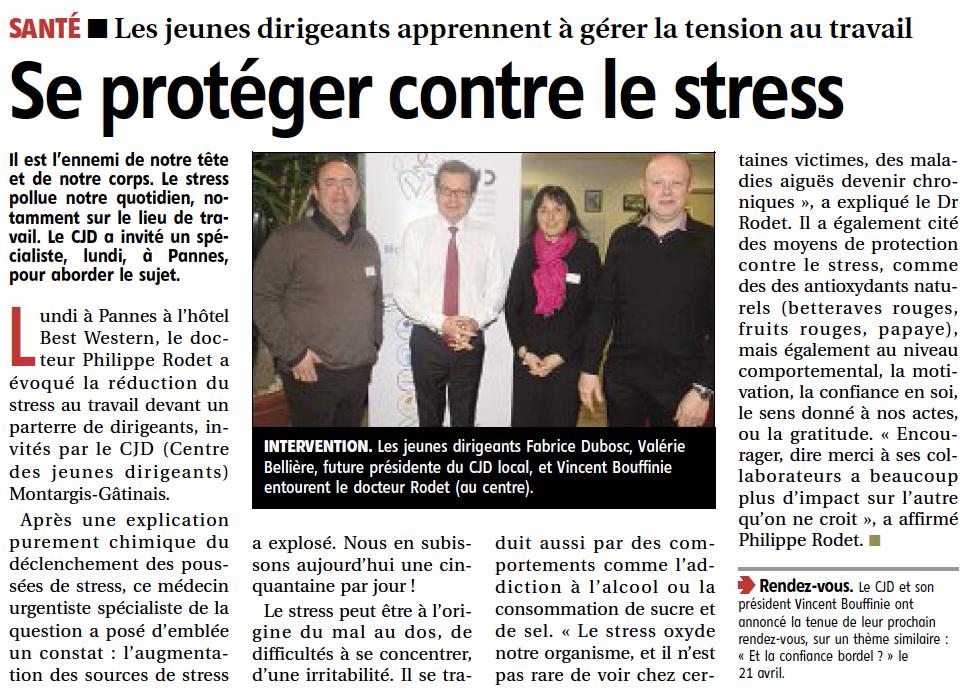 République du Centre - Se proteger contre le stress - CJD - Pannes