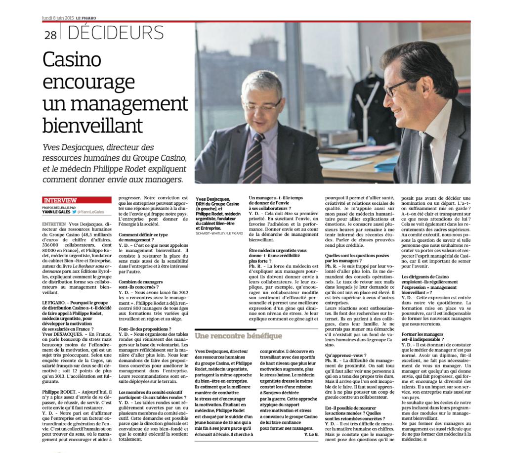 Le Figaro : Casino encourage un management bienveillant