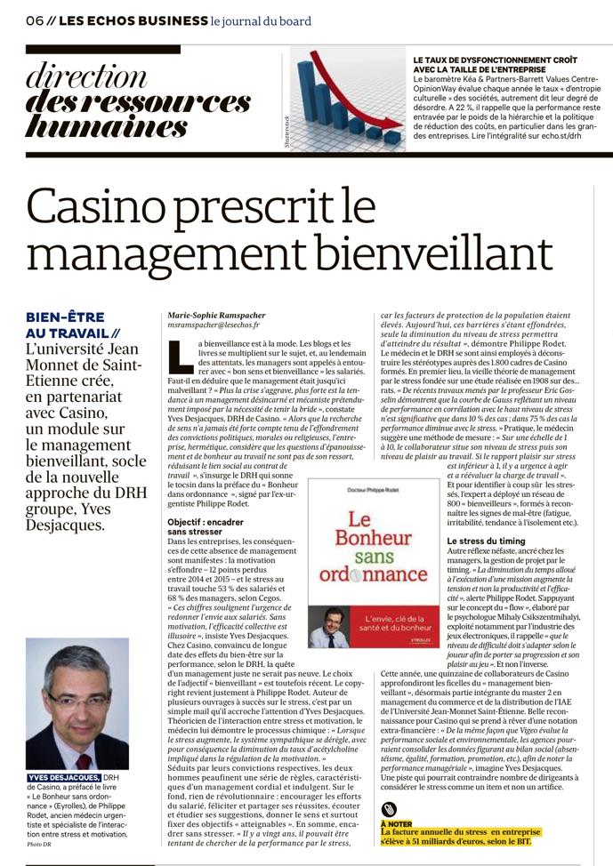 Les Echos : Casino prescrit le management bienveillant