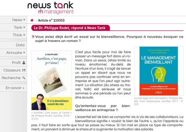 Retrouvez l'interview du Dr Philippe Rodet cette semaine sur News Tank RH Management